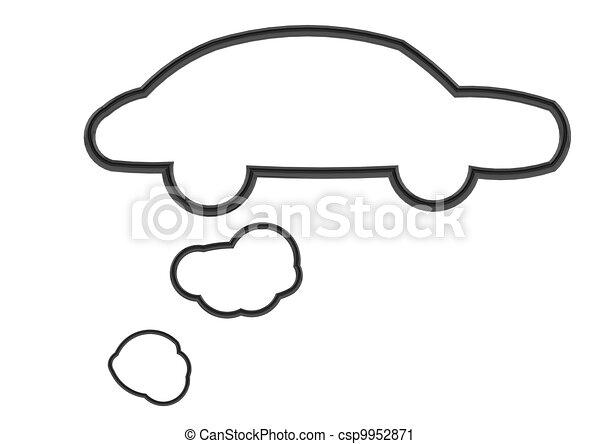 Black Bubbles Black Car Shape Speech Bubble