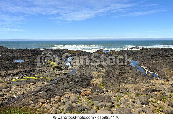 Rocky lava shoreline, Oregon coast. - csp9954176