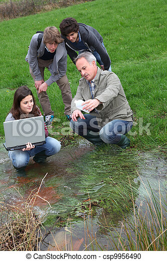 Teenagers in environmental professional training