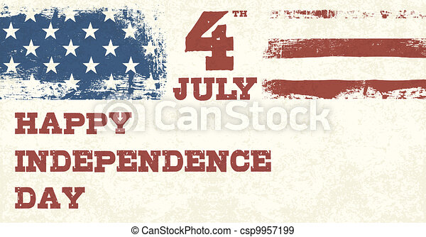 Retro Style Independence Day Design Template. Vector, EPS10 - csp9957199