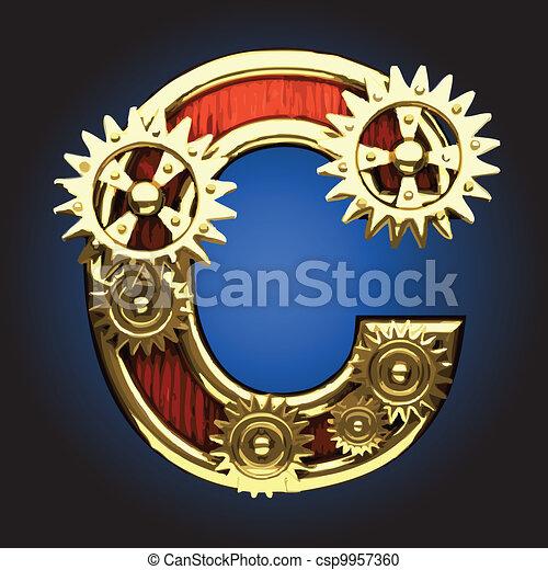 Vector wooden figure with gears - csp9957360