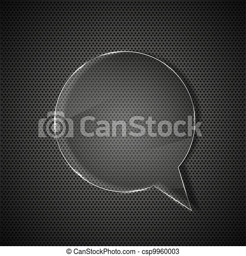 circle glass bubble speech on metal background - csp9960003