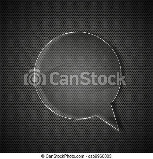 circle glass bubble speech on metal background - csp9960003