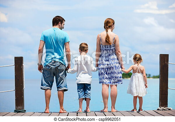 Family at tropical vacation - csp9962051
