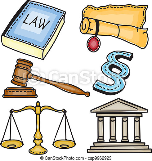 Illustration of judicial icons - csp9962923