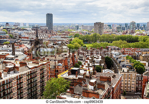 Aerial View from Westminster Cathedral on Roofs and Houses of London, United Kingdom - csp9963439