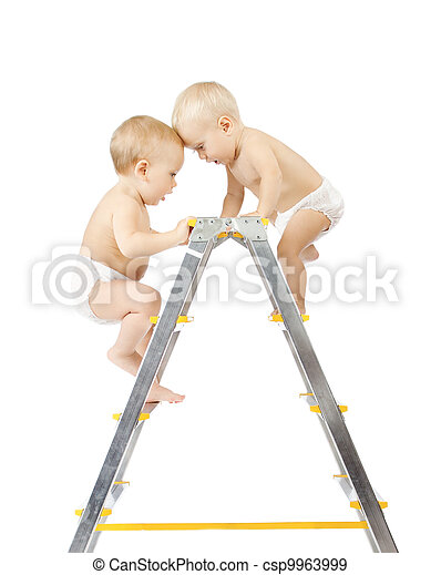 Two babies climbing on stepladder and fighting for first place - csp9963999