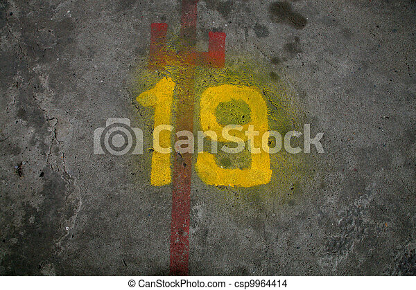 Number nineteen painted - csp9964414