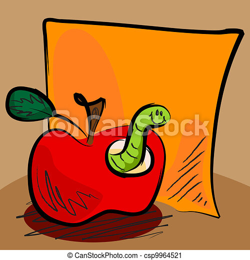 Grungy apple worm cartoon with sticky - csp9964521