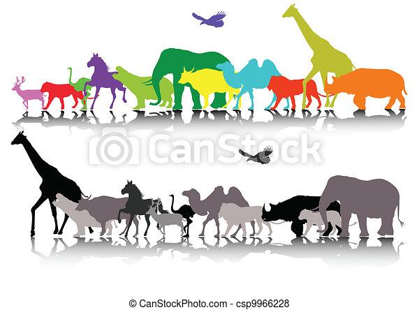 silhouette of wildlife safari - csp9966228