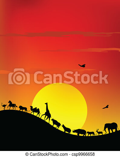 silhouette of wildlife safari - csp9966658