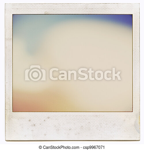 Designed grungy instant film frame with abstract filling isolated on white, kind of background, vintage hard grain effect added  - csp9967071
