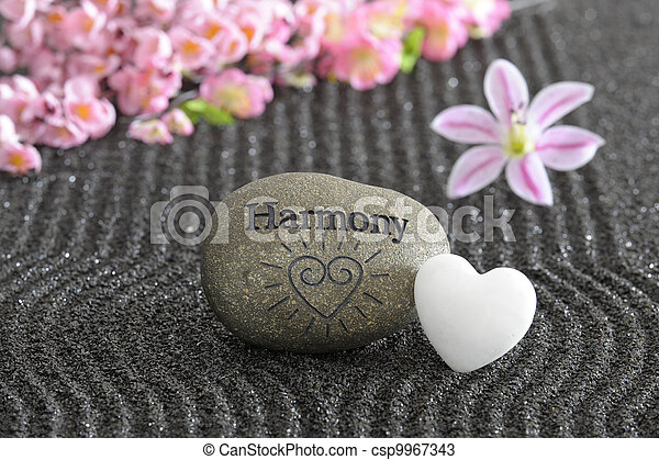 stone of harmony in zen garden - csp9967343
