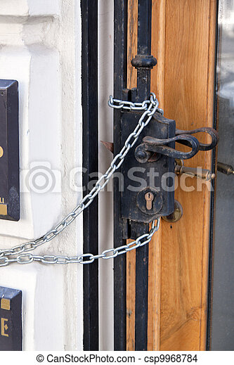 door secured with chain - csp9968784
