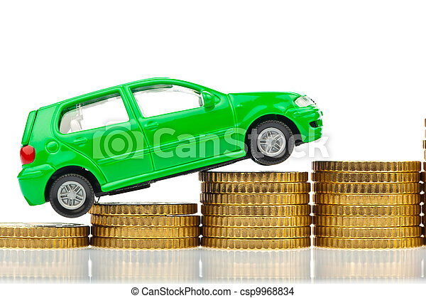 car and coins. rising car costs - csp9968834