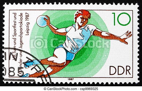 Postage stamp GDR 1987 Handball - csp9969325