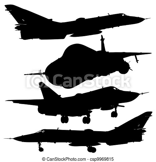 military combat airplane silhouettes set - csp9969815
