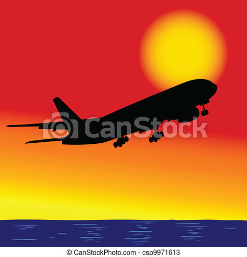 aircraft in flight over the ocean - csp9971613