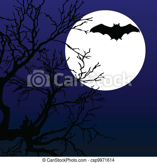 bat fly on the moonlight with tree illustration - csp9971614