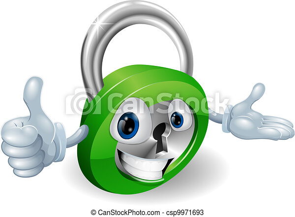 Padlock mascot illustration  - csp9971693