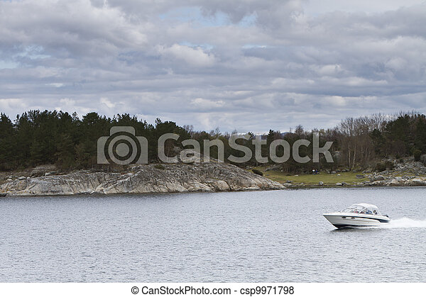 landscape in norway - coastline in fjord - csp9971798