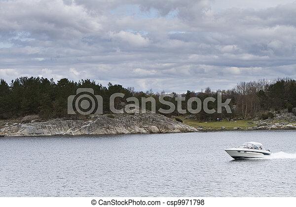 landscape in norway - coastline in fjord - csp9971798