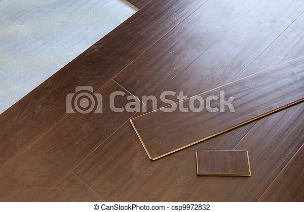 Newly Installed Brown Laminate Flooring - csp9972832