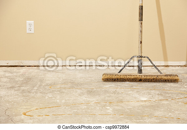 Concrete House Floor with Broom Ready for Flooring Installation - csp9972884