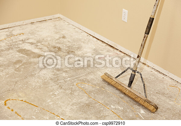 Concrete House Floor with Broom Ready for Flooring Installation - csp9972910