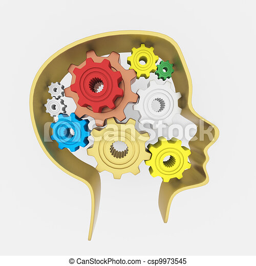 3D Head and brain gears in progress. concept of human thinking - csp9973545