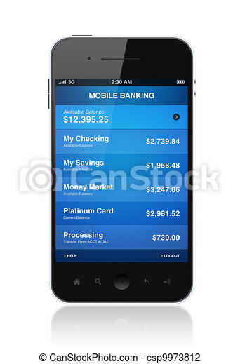 Mobile phone with electronic banking application - csp9973812