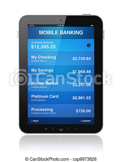 Mobile banking on digital tablet - csp9973826