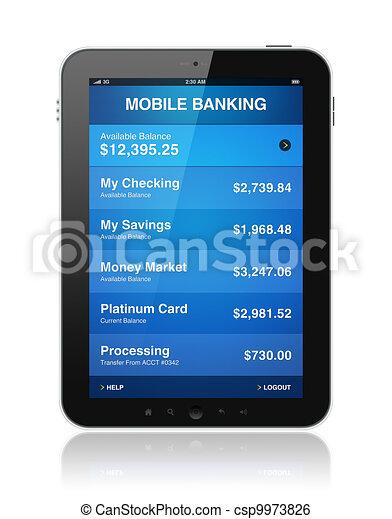 Mobile banking on digital tablet - csp9973826