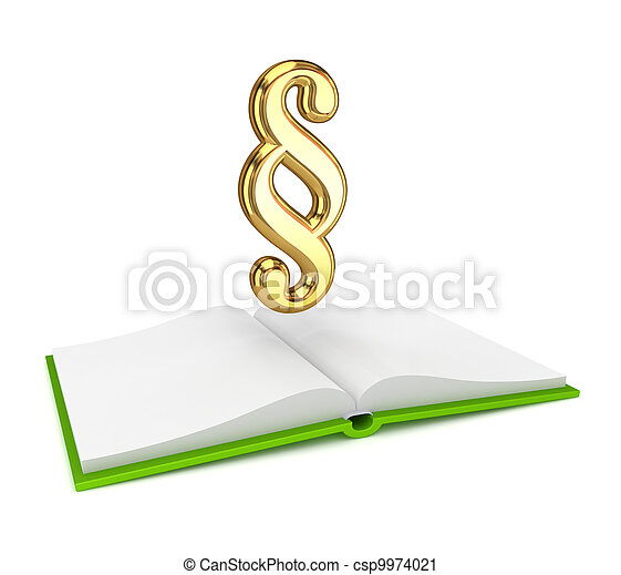 Opened book and golden paragraph symbol. - csp9974021