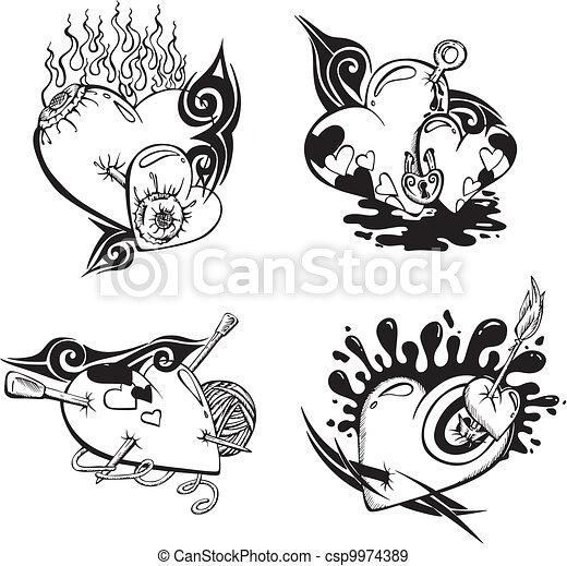 EPS Vectores De Estilizado Tatuajes Corazones