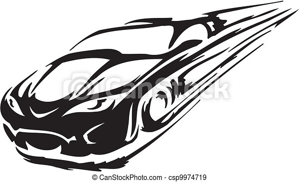 Vectors Of Race Car Vector Illustration Racing Emblem Black