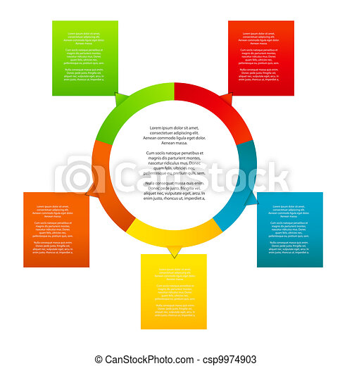Concept of colorful circular banners with arrows for different business design. Vector illustration - csp9974903