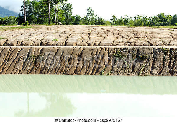Eroded cut bank of small river - csp9975167