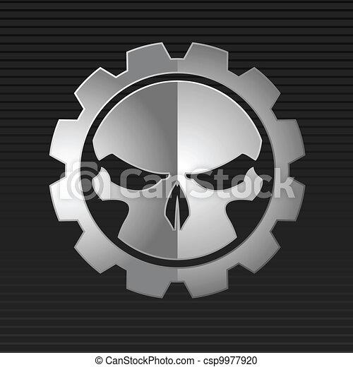 Vector illustration of evil skull  - csp9977920