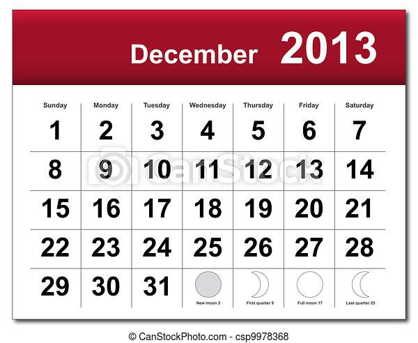 December 2013 calendar - csp9978368