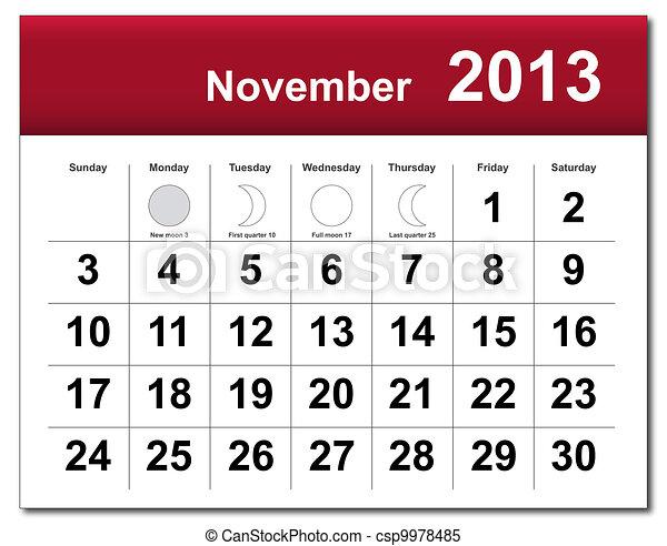 November 2013 calendar - csp9978485