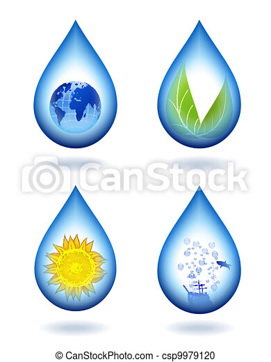 Drops of water content. - csp9979120