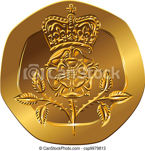 British money gold coin Reverse twenty pences with the image of Crowned rose flower (Rosa Tudor - the emblem of England) - csp9979813