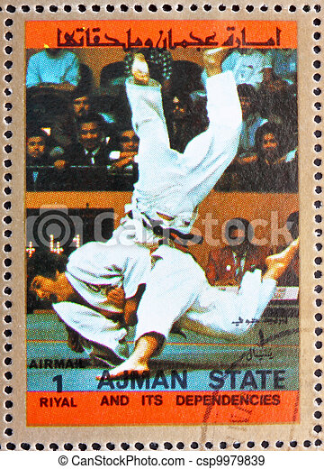 Postage stamp Ajman 1973 Judo, Olympic sports - csp9979839