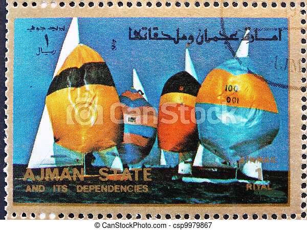 Postage stamp Ajman 1973 Sailing, Summer Olympics - csp9979867