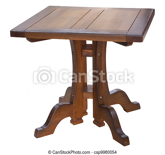 arts and crafts oak dining square table isolated on white - csp9980054