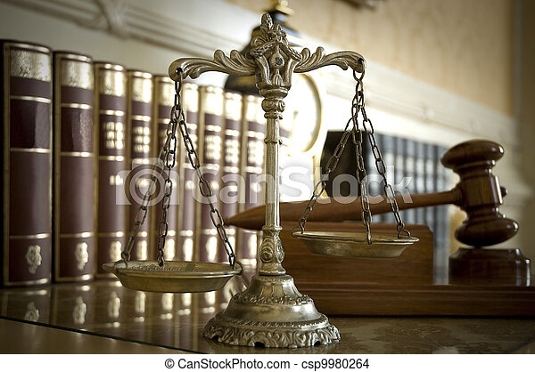 Scales of Justice and Judge`s gavel - csp9980264