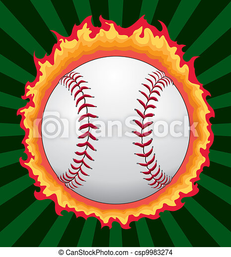 Baseball With Flames - csp9983274