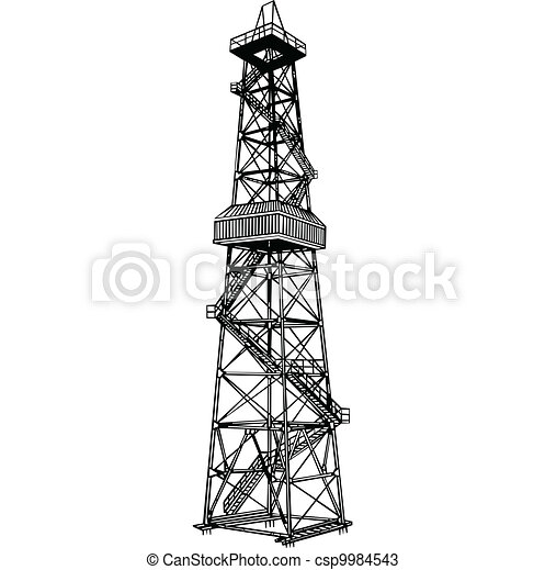 Drawings of Derrick rig - Rig for exploration and drilling ...  Drawings of Der...