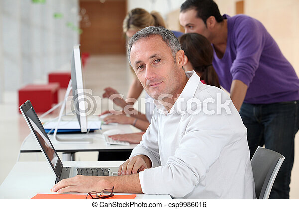 Adult man attending business training - csp9986016